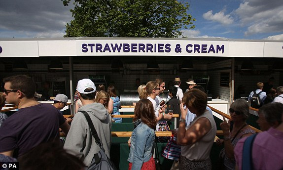 Queue for Strawberries & Cream. Source: Dailymail.co.uk