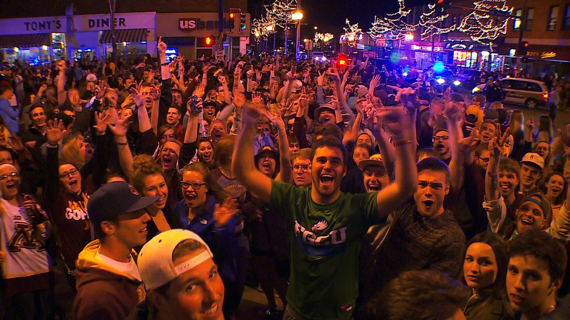 Gopher fans in Dinkytown - courtesy of minnesota.cbslocal.com