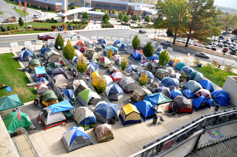 Tents in Nittanyville - courtesy of News.psu.edu