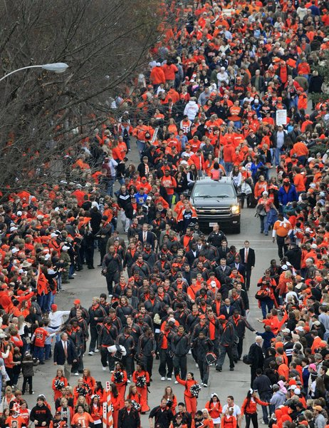OSU player walk down Hester Street - courtesy of Tulsaworld.com
