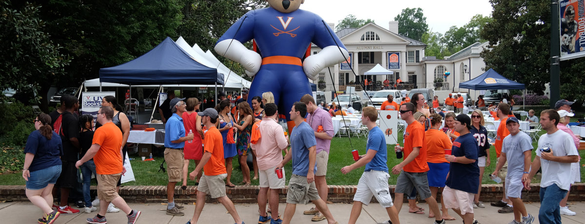 UVA tailgate party at Alumni Hall (Photo by Norm Shafer).