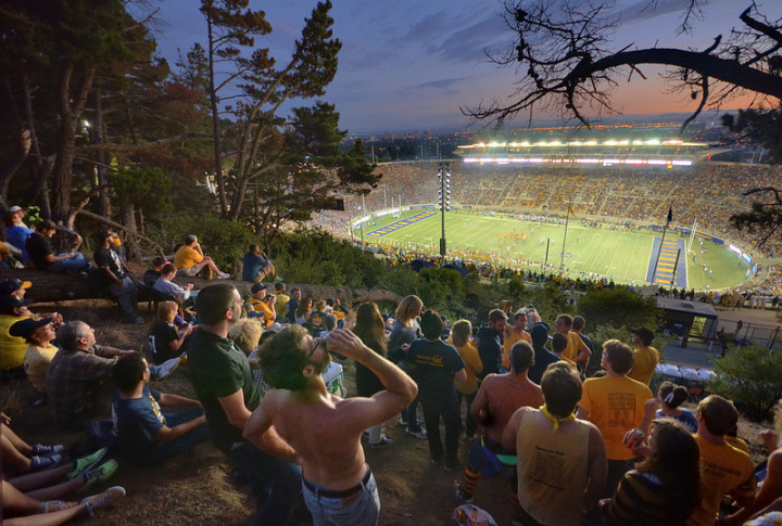 Cal fans on Tightwad Hill - courtesy of berkeleyside.com