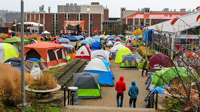 WVU's student tent city - courtesy of wvutoday.wvu.edu