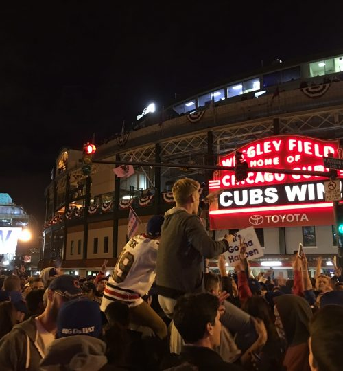 Outside of Wrigley Field after Cubs win